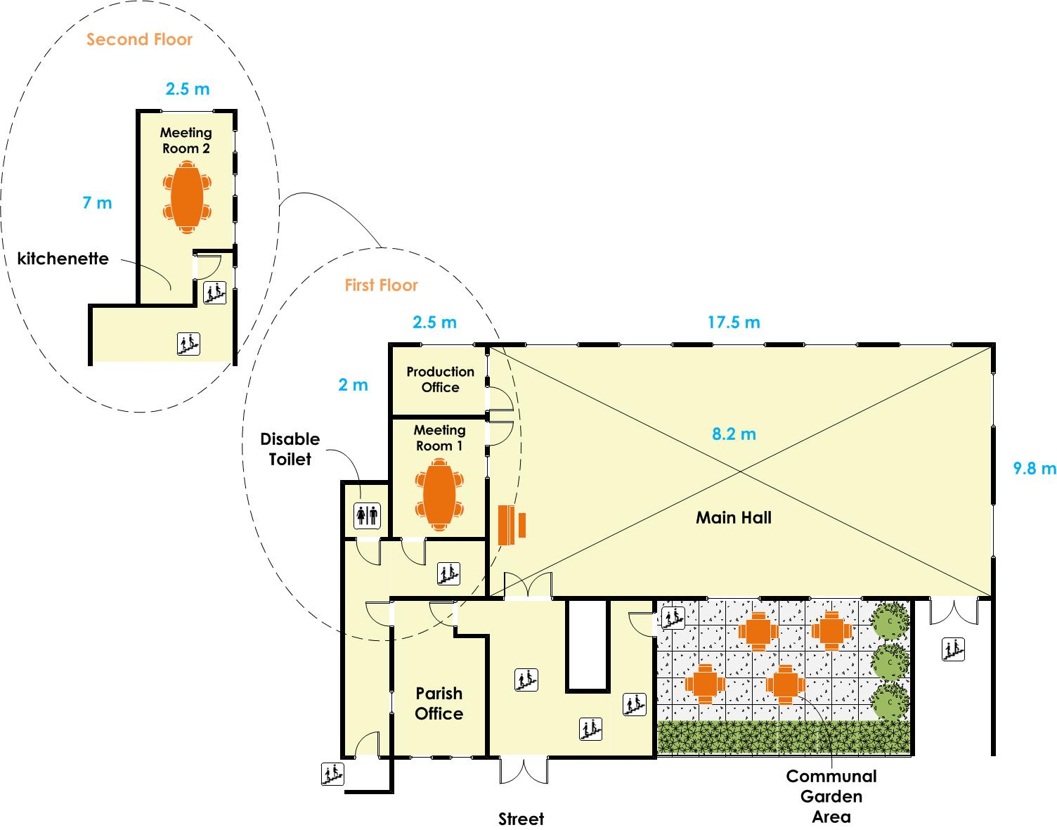 St Gabriel's Hall - Main Hall Floor Plan