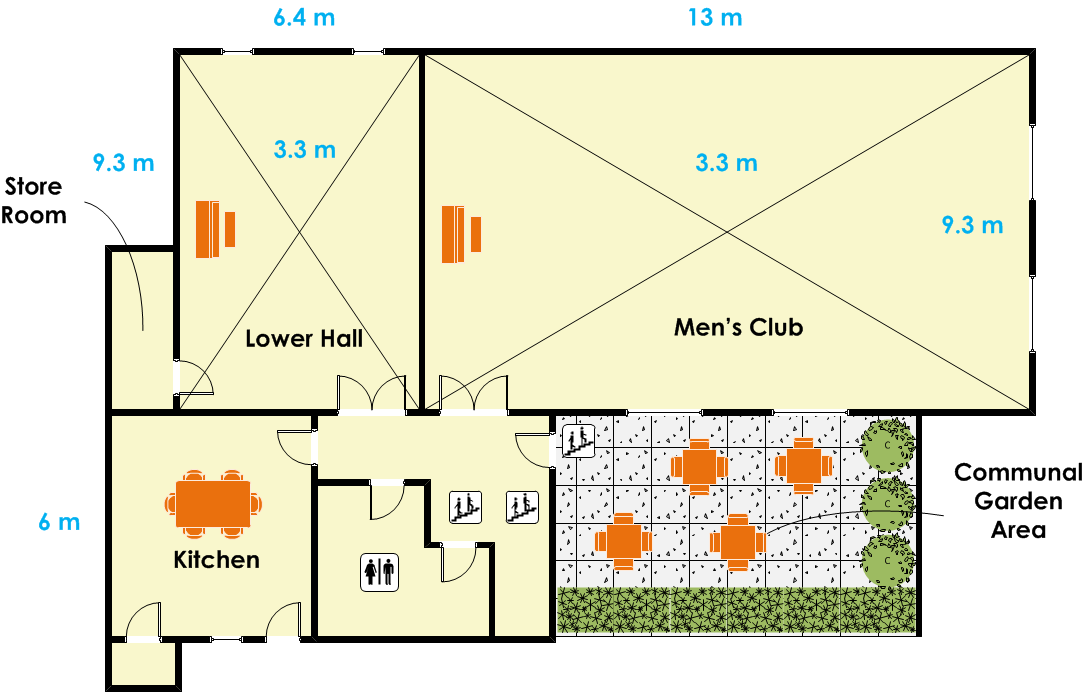 St Gabriel's Hall - Men's Club Floor Plan